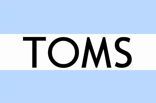 The Toms logo isn't over-designed, which for Thorpe, fits its brand personality