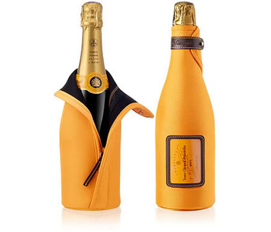 The Veuve Clicquot label combines its anchor heritage mark with beautifully set typography
